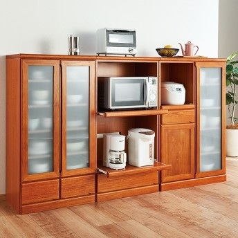 ベルーナインテリア 天然木コンパクト食器棚シリーズ ホワイトウォッシュ 家電収納