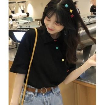 (felt maglietta/フェルトマリエッタ)アシメに付いたカラフルボタンが可愛い◎一枚でお洒落に着れるポロシャツ♪/トップス/カットソー/夏/ポロシャツ/韓国ファッションシャツ Tシャツ/レディース ブラック