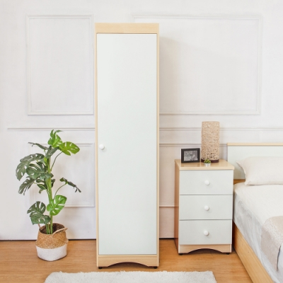 Birdie南亞塑鋼-1.6尺左開單門衣櫃(白橡色+白色)-49x58x190cm