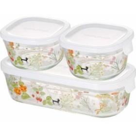 iwaki シンジカトウ パック & レンジ 角型3点セット colorful herbs PS-PRNSNB3(1セット)[保存容器]
