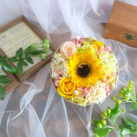Summer gift-himawari savonflower box-ギフト シャボンフラワー リングピロー