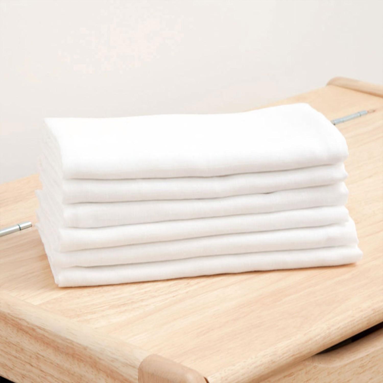 英國 JoJo Maman BeBe - 100% 純棉多功能細紗布拍嗝巾/安撫巾/小薄被6入組(60*60cm)-白色