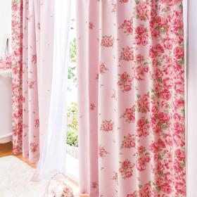 ベルーナインテリア 1級遮光&遮熱UVカット見えにくいレースカーテンセット ピンクローズ柄 ピンクローズ柄 約幅100×丈90cm