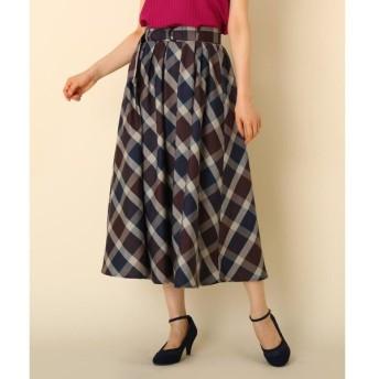 Couture Brooch / クチュールブローチ 【WEB限定サイズ(S・LL)あり/手洗い可】先染チェックフレアスカート