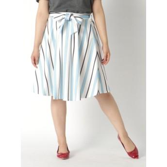 【大きいサイズレディース】【L-3L】リボンベルト付タックスカート スカート 膝丈スカート