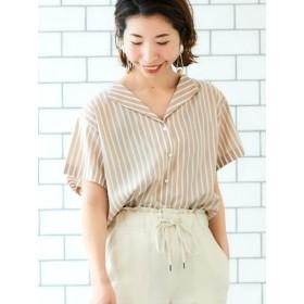 50%OFF le. coeur blanc (ルクールブラン) オープンカラーワイドスリーブシャツ 柄ベージュ