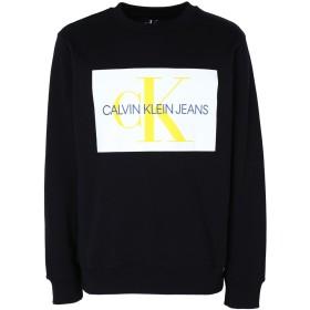 《期間限定 セール開催中》CALVIN KLEIN JEANS メンズ スウェットシャツ ブラック XL コットン 100% MONOGRAM BOX LOGO HO
