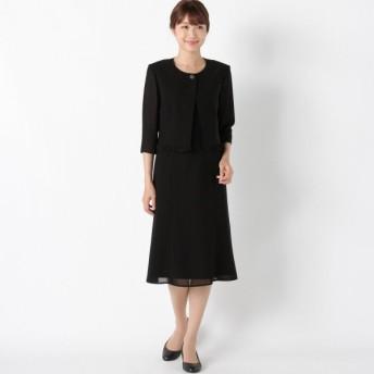 フォーマル レディース 喪服 礼服 ブラックフォーマル スーツ ふらしデザイン2ピース風ウォッシャブルワンピース 「ブラック」