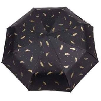 人気 完全 遮光 折りたたみ 晴雨 兼用 日傘 レディース(ブラック)