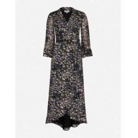 ガニー GANNI レディース ワンピース ワンピース・ドレス Floral-pattern flared-skirt crepe midi dress Black