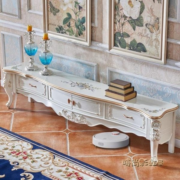 歐式電視櫃茶幾組合奢華高款客廳家具臥室地櫃北歐簡約描金珠光白