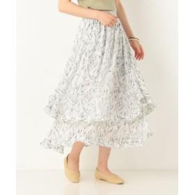 (archives/アルシーヴ)変型フレアロング花柄スカート/レディース オフホワイト