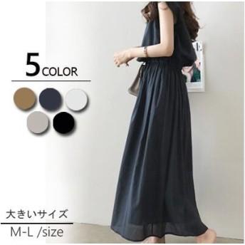 2019春夏人気新品 韓国ファッション 綿の麻 裏地 春夏の 大きいサイズ 半袖 ロングワンピ コットンリネン 、ワンピース 、ベルトのワンピース