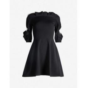 ヴァレンティノ VALENTINO レディース パーティードレス ワンピース・ドレス Ruffled fit-and-flare stretch-knit mini dress Black ivor