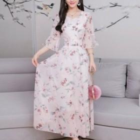 ドレス フラワー柄ワンピース シフォン カラバリ3色 ダイヤモンドネック フリルスリーブ きれい見え 好感 一枚完結 結婚式 二次会 お呼ば