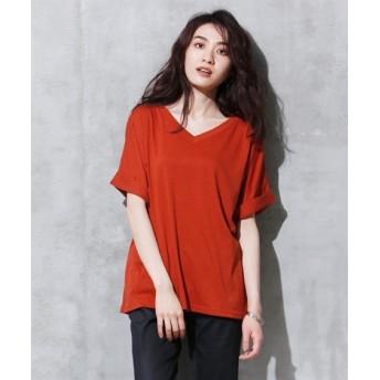 袖口折返しシンプルカットソートップス (大きいサイズレディース)Tシャツ・カットソー
