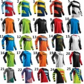 THOR バイクシャツ サイクルシャツ  Tシャツ オフロード 長袖 メンズ 速乾 吸汗 23種類 大きいサイズ XS-XXXL