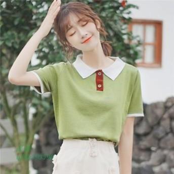 夏ポロ ポロpolo Tシャツ トップス ポロシャツ風 グリーン 襟付き半袖 配色 楽ちん フリーサイズ レトロ シンプルゆったり 大人カジュア