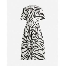 オスカー デ ラ レンタ OSCAR DE LA RENTA レディース パーティードレス ワンピース・ドレス Zebra-print short-sleeved cotton-blend mi