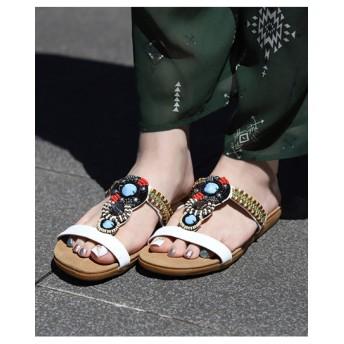 【大きいサイズレディース】【24.5cm】ミックスビーズサンダル シューズ(靴) サンダル