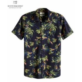 スコッチ&ソーダ シャツ ◆ SCOTCH&SODA Palm Pattern Shirt Regular fit ネイビー 292-72401 メンズ トップス 半