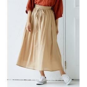 ふんわり軽やか 綿ガーゼ調ロングスカート(リボンベルト付) (ロング丈・マキシ丈スカート),skirt