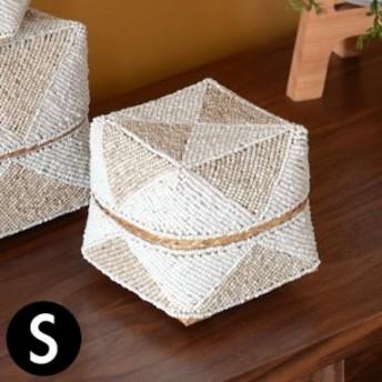 収納ケース 収納ボックス ビーズ製 蓋つき ダイヤ柄 約13×13cm 白×ベージュ アジア雑貨 バリ雑貨 アジアン リゾート おしゃれ