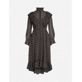 クロエ SEE BY CHLOE レディース ワンピース ワンピース・ドレス High-neck floral-print crepe midi dress Black white