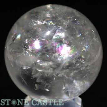 ☆置石一点物☆【天然石 置き石】丸玉 レインボー水晶 約53mm No.35
