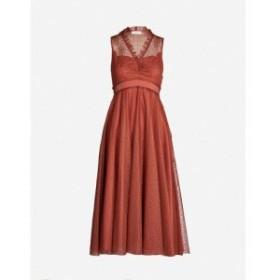 サンドロ SANDRO レディース ワンピース ワンピース・ドレス Frilled embroidered tulle dress Rust