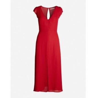リフォーメーション REFORMATION レディース ワンピース ワンピース・ドレス Wellfleet V-neck crepe midi dress Cherry