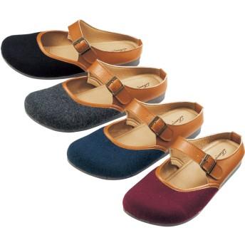 【格安-女性靴】レディースオブリークトゥサボサンダル