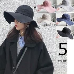 帽子 レディース ハット UV 折りたたみ帽子 つば広 紫外線対策 UVハット 夏 uvカット帽子 オシャレ 飛ばさない