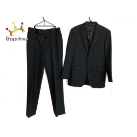 バーバリーブラックレーベル シングルスーツ サイズ36 S メンズ 黒×ライトグレー ストライプ  値下げ 20190817