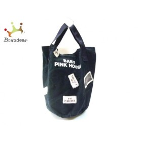 ピンクハウス PINK HOUSE トートバッグ 黒×アイボリー×マルチ BABY コットン  値下げ 20191010