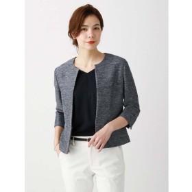 ジャケット/レディース/春夏/JAPAN QUALITY/カラミ織りノーカラー7分袖ジャケット ネイビー