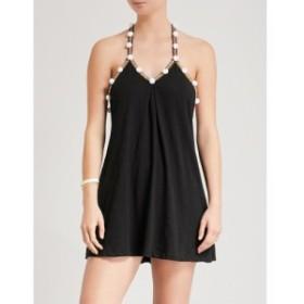 ピトゥサ PITUSA レディース ワンピース ワンピース・ドレス Pom Pom contrast-trim stretch-jersey dress Black