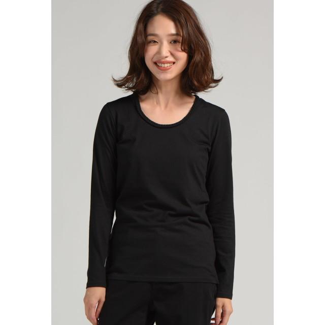 LIPSTAR 三つ編み長袖ロングTシャツ Tシャツ・カットソー,ブラック