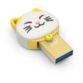 PQI デュアルUSBメモリ 8GB USB3.0 TYPE-A / microUSB対応 幸運猫(ラッキーキャット)Connect 303 財を招く金の猫
