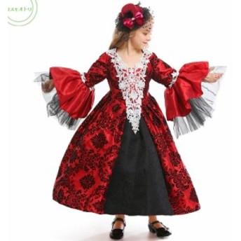 ハロウイン 送料無料 女の子 パーテイー ヴァンパイヤ コスプレ衣装 子供服 仮装 キッズ  姫系 ドレス