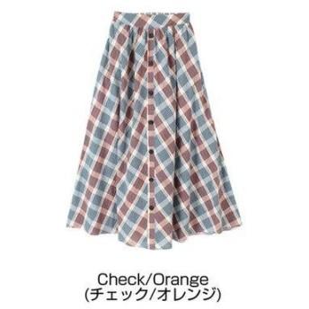 ティティベイト titivate フロントボタンスカート (チェック/オレンジ)