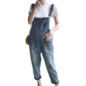 レディース デニム オーバーオール サロペット オールインワン 9分丈 ジーンズ ゆったりポケット付きカジュアル オールインワン 体型カバー 着痩せ 大きいサイズ 春夏秋XS-XXL (XS(体重40-46kg), ブルー)