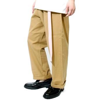 ワイドパンツ メンズ ロングベルト付き カラー ガチャベルト ゆったり ゆる リラックス チノパンツ L ベージュ×ピンク(1)