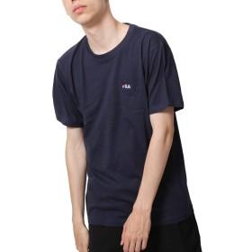 [フィラ] FILA ポケット付きワンポイント刺繍半袖Tシャツ fh7491 NAVY L