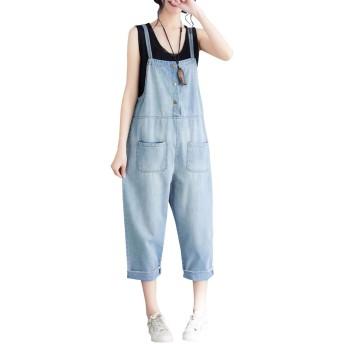 DuWei (ドゥウェイ) レディース サロペットパンツ デニム パンツ カジュアル 大きいサイズ つりズボン ゆったり サロペット つなぎ オールインワン パンツ おしゃれ 人気 ゆったり ジーンズ 韓国風 春 夏 秋 (M)