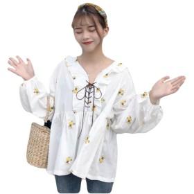 YiTong レディース ワイシャツ トップス ブラウス 花柄 刺繍 春 長袖 リボン ゆったり ボリュームスリーブ カジュアル 韓国風 スリム 上着 可愛い 甘い ファッションイエロー