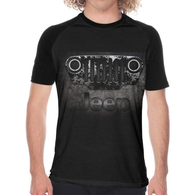 Jeep Tシャツ メンズ ユニーク 半袖 ベースボールポロシャツ プリントティーシャツ クルーネック サマー 人気 カジュアル 通学 通勤 カップル服