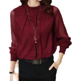Kankanluck 女性ファッションシフォンブラウススキニースリムフィット夏ウエスタンシャツ Wine Red XL
