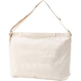 [クロスマーベリー] キャンバスバッグ ショルダーバッグ 横型 A3 収納 ファスナー付き 大容量 おしゃれ カジュアル シンプル デザイン 帆布 ビッグ バッグ かわいい かばん レディース 女性 ガールズ 学生 通学 (R17 無地アイボリー)