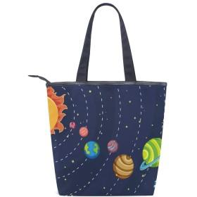 宇宙 星 太陽系 トートバッグ おしゃれ ハンドバッグ レディース 肩掛け ショルダーバッグ ファスナーキャンバスバッグ 多機能バッグ